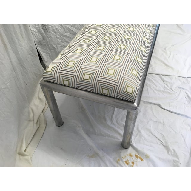1970s Midcentury Aluminum Bench For Sale - Image 5 of 8