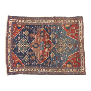 "Antique Distressed Seichor Kuba Rug - 3'10"" X 5'2"" For Sale"