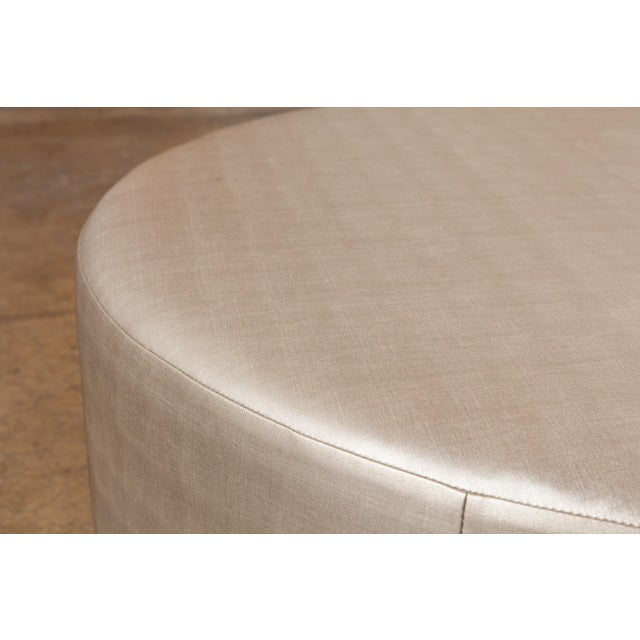 Metallic Silver Round Ottomans - A Pair For Sale - Image 5 of 5