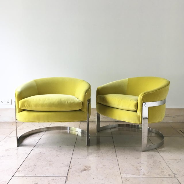 1970s Pair of Milo Baughman Chromium Steel Framed Tub Chairs 1970s For Sale - Image 5 of 9
