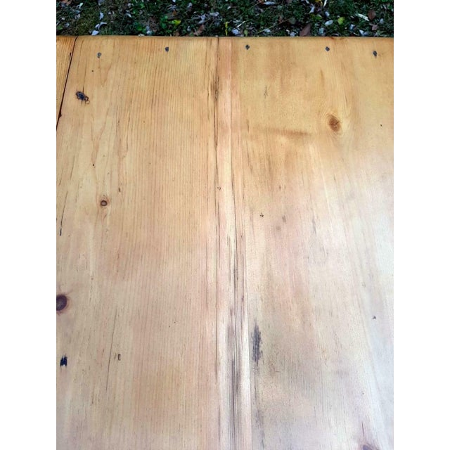 1800's Antique Pine Wood Drop Leaf Farmhouse Painted Distressed Table With Drawer For Sale - Image 11 of 13