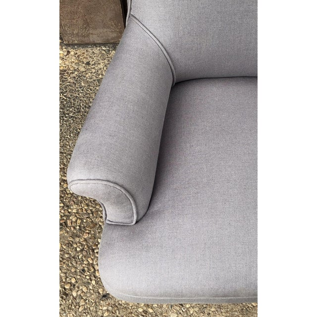 Linen Linen Upholstery French Scroll-Back Armchair For Sale - Image 8 of 13
