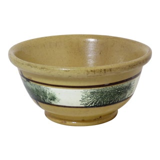 19th Century Boho Chic Yellow Ware Seaweed Mixing Bowl For Sale