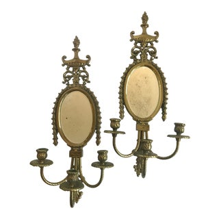 1920s Vintage French Bronze Mirrored Candle Sconces - a Pair For Sale