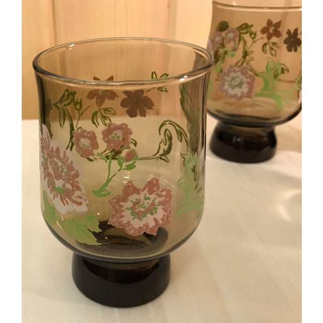 Mid-Century Modern Smoked Glasses With Embossed Design - Set of 5 For Sale In Dallas - Image 6 of 11
