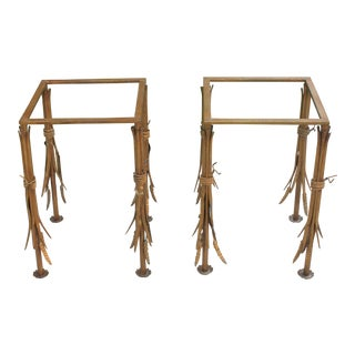 Pair of Hollywood Regency Wheat Sheaf Side Tables For Sale