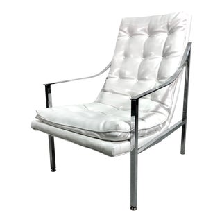 Milo Baughman Style Chrome & White Patent Leather Lounge Chair For Sale