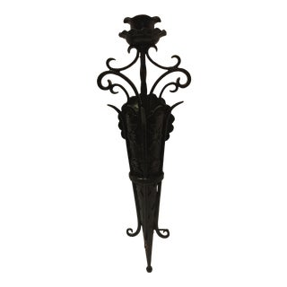 1930s Antique Hand Wrought Black Iron Wall Sconce For Sale