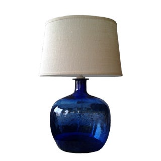 Contemporary Cobalt Blue Glass Lamp