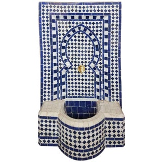 Modern Moroccan Mosaic Mini Fountain For Sale