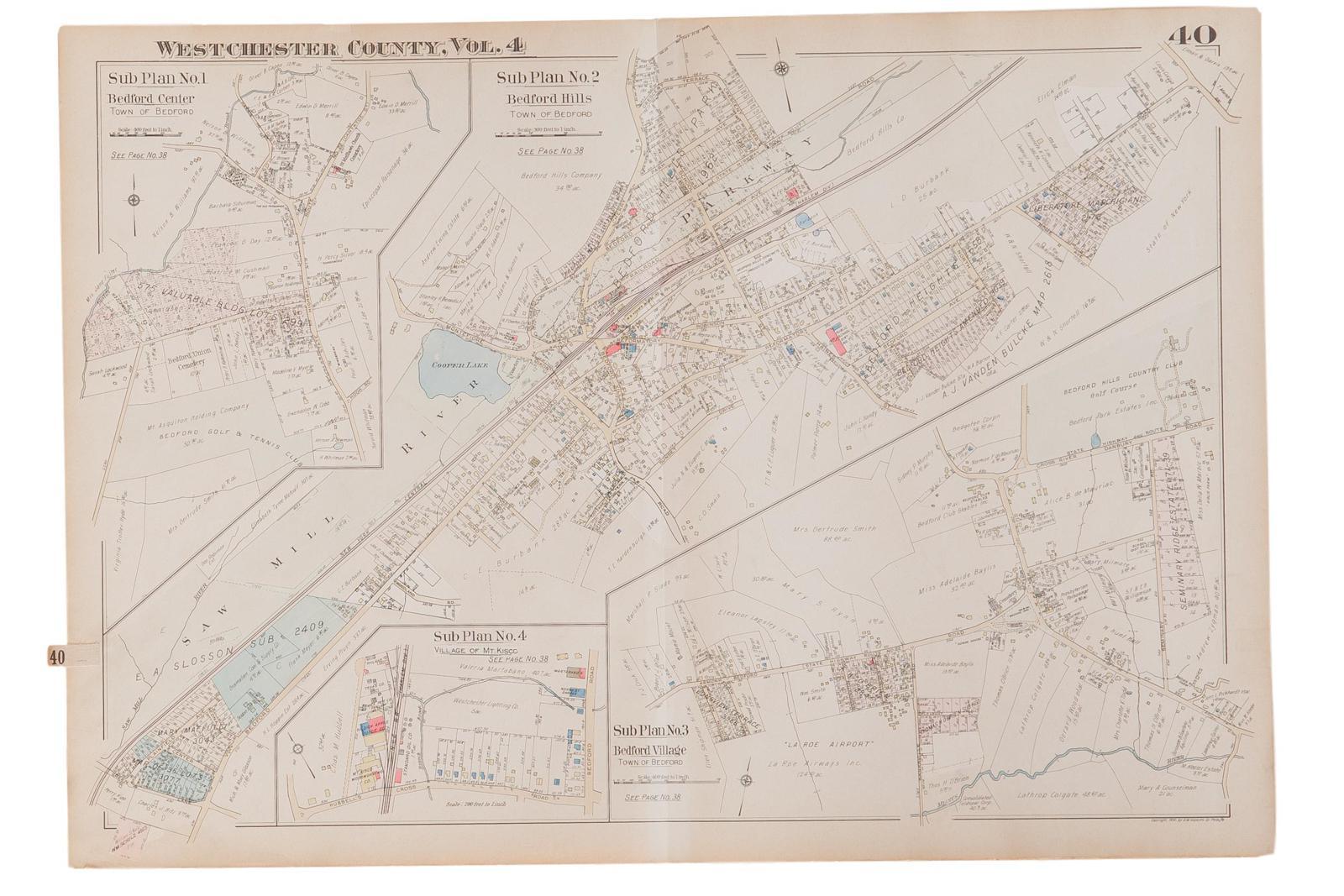Vintage 1930s Hopkins Bedford Village NY Map Chairish