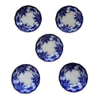 Set of 5 English Cobalt Blue Antique Plates For Sale