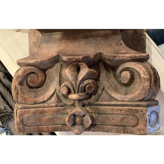 English Colonial Indian Carved Teak Column Base Architectural Element C 1880 For Sale In Denver - Image 6 of 13