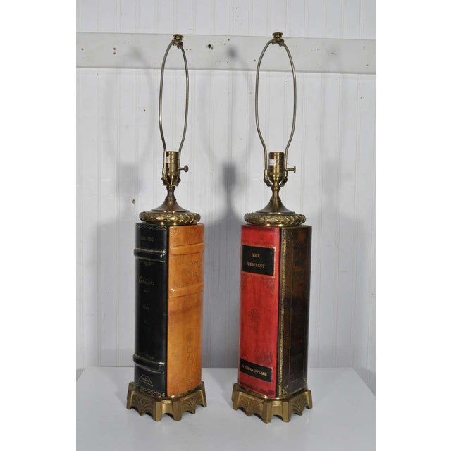 Vintage English Style Brass and Tooled Leather Bound Book Form Table Lamps - a Pair For Sale - Image 11 of 11