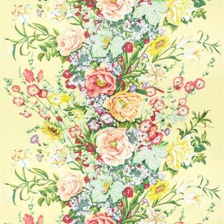 Vintage Bassett McNab Summer House Floral Fabric, 1 Yard For Sale
