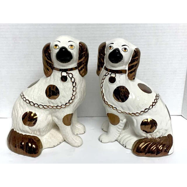 Victorian Wider Staffordshire Copper Luster Dogs With Separated Legs - a Pair For Sale - Image 3 of 12