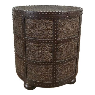 Contemporary Carved Wood 'Zanzibar' Round End Table