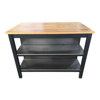 Butcher Block Island With Stainless Shelves For Sale