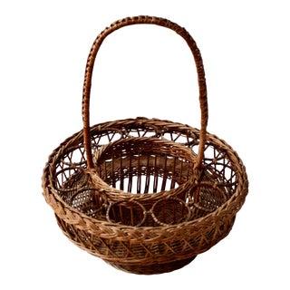Vintage Wicker Drink Carrier Picnic Basket
