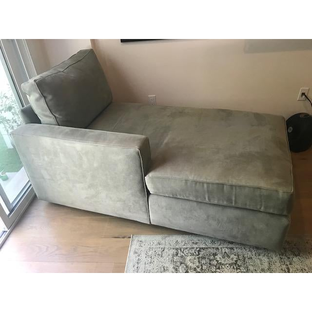 American Classical Room and Board Suede Chaise Lounge For Sale - Image 3 of 10