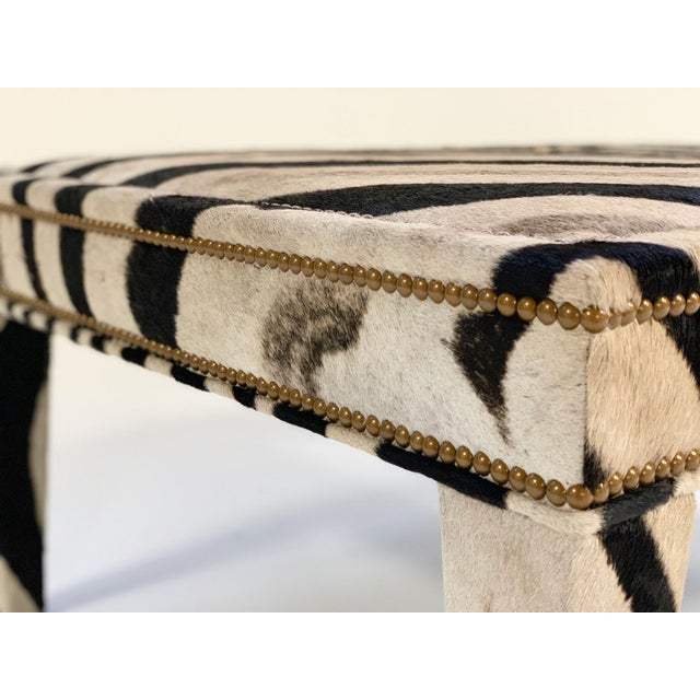 Animal Skin Forsyth Zebra Hide Parsons Style Ottoman For Sale - Image 7 of 11