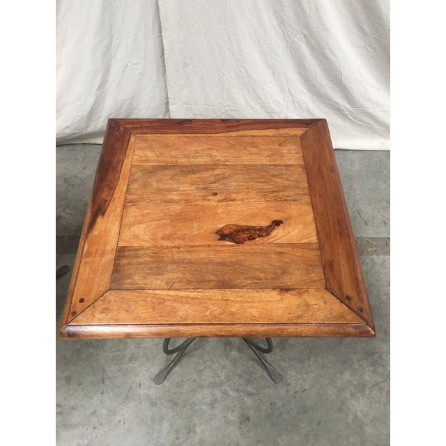 1900 - 1909 Rustic French Bistro Walnut SideTables With Iron Bases - a Pair For Sale - Image 5 of 12