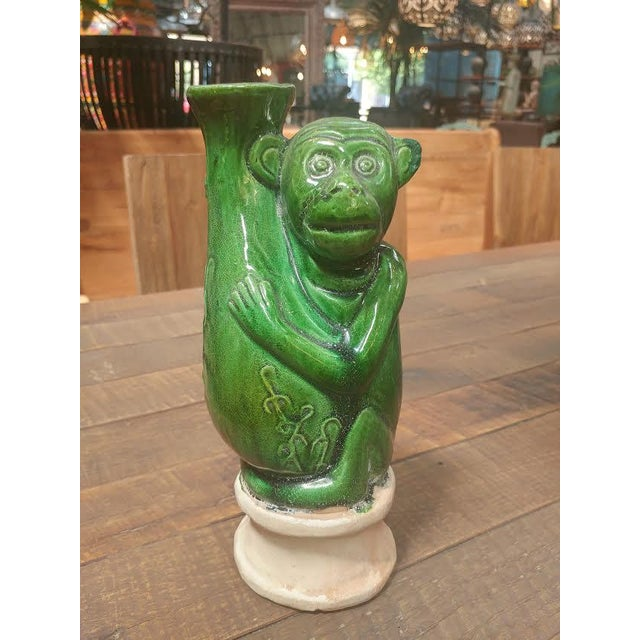 Boho Chic Green Ceramic Monkey Vase For Sale - Image 3 of 5