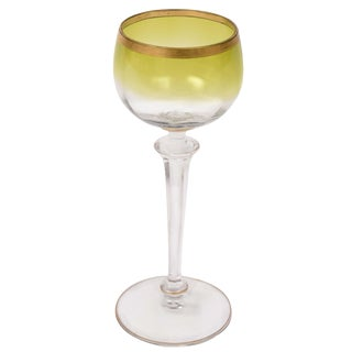 12 Chartreuse Gilt Blown and Cut-Glass Wine Goblets For Sale