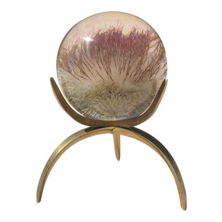 Vintage Arthur Court Atomic Style Lucite Encased Flower Orb With Brass Display Stand For Sale