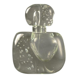Extra Large Clear Murano Glass Perfume Bottle For Sale