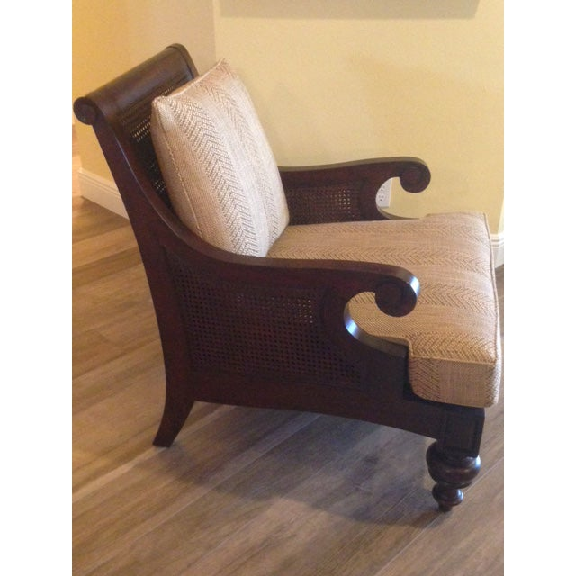 Ethan Allen Rattan & Cherry Wood Accent Chairs - A Pair - Image 6 of 6