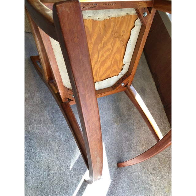 Mid-Century Modern Traditional Cherry and Walnut Rocking Chair For Sale - Image 10 of 13