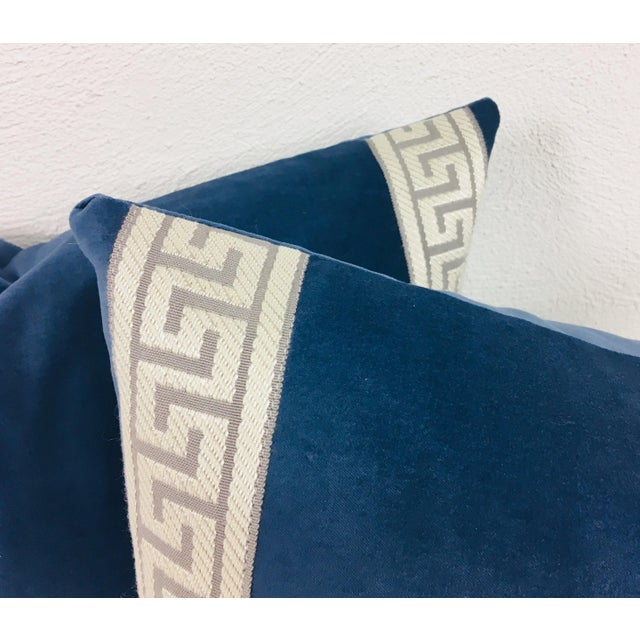 This is a pair of royal blue plush velvet lumbar pillows; border is Greek key banding in silver and gray. Pillows are made...