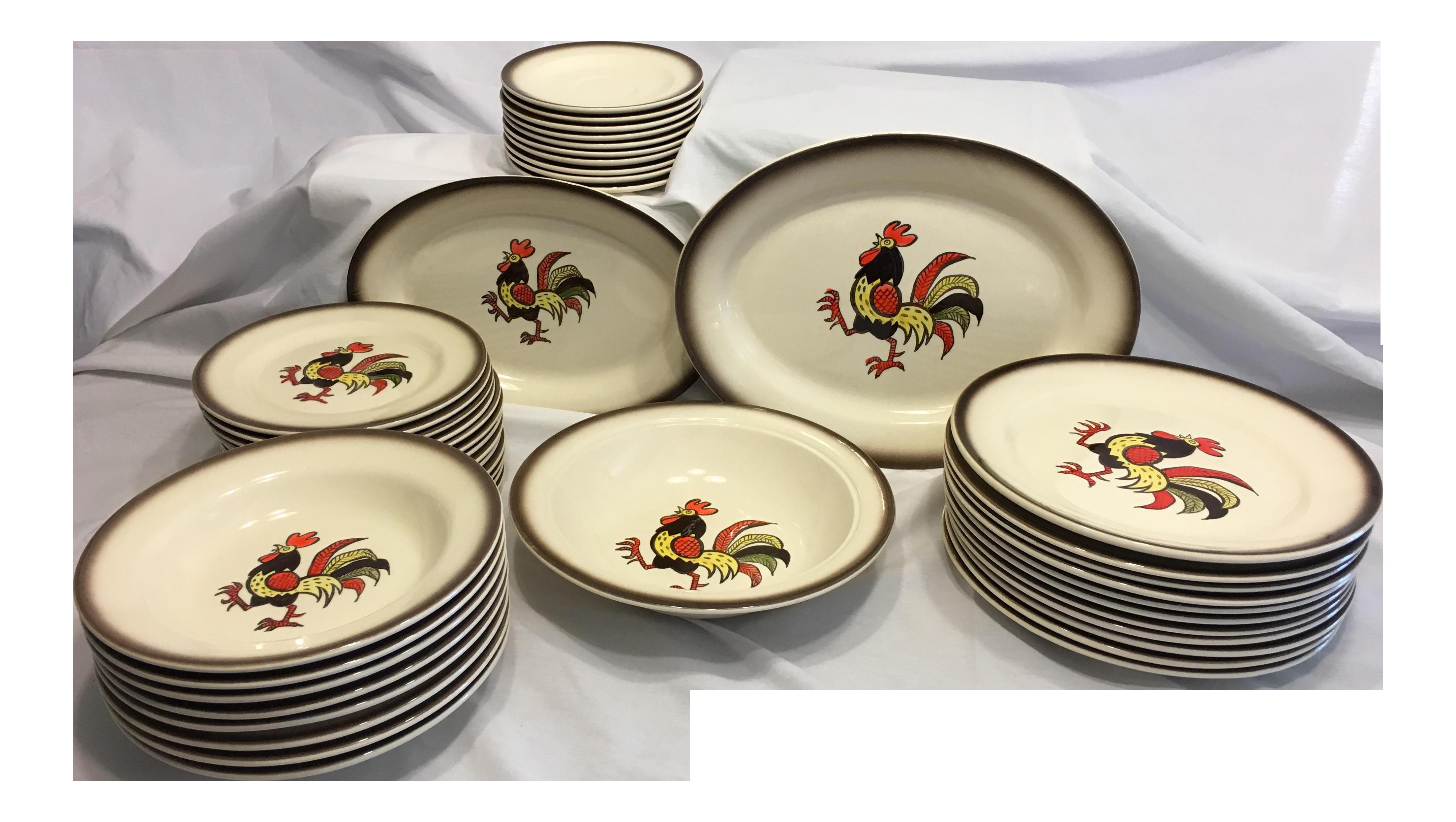 Poppytrail Rooster Pattern Metlox of California Dinnerware - Set of 44  sc 1 st  Chairish & Poppytrail Rooster Pattern Metlox of California Dinnerware - Set of ...