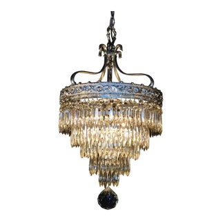 Antique Circa 1910 Silver Dore 4 Light Lead Crystal Wedding Cake Chandelier For Sale