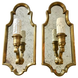 Hollywood Regency Style Sussex Brass and Mirror Candle Wall Sconce Light- A Pair For Sale