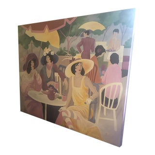 Large Original Painting on Canvas of Lunching Ladies For Sale
