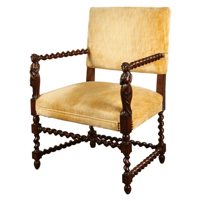 Continental French Chair with Barley Twist Arms, circa 1870 - Image 1 of 1