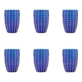 Image of Perle Tumbler in Blue - Set of 6 For Sale
