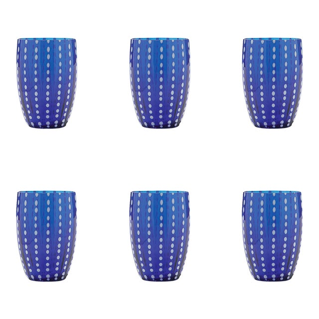 Perle Tumbler in Blue - Set of 6 For Sale