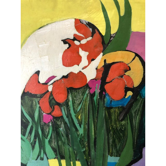 "Abstract 1974 Floral Abstract Painting Ny Artist ""Iris in Front"" For Sale - Image 3 of 6"