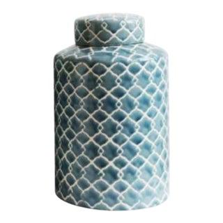 Hand Painted Celadon Lidded Ceramic Jar For Sale