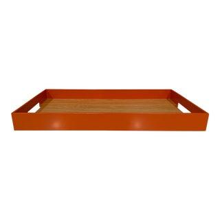 Contemporary Orange Interlude | Orange and Wood Tray | L For Sale