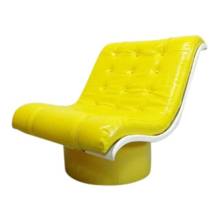 1970s Vintage Decorian Modern Yellow Vinyl Wave Scoop Chair For Sale