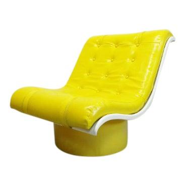 1970s Vintage Decorian Modern Yellow Vinyl Wave Scoop Chair For Sale