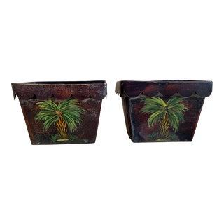 Pair Tole Palm Tree Cache Pot For Sale