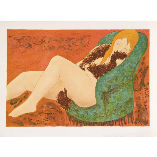 "Alain Bonnefoit, ""Nude in Green Chair,"" Lithograph - Image 1 of 2"