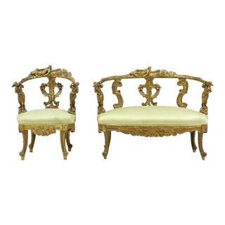 1900s Italian Baroque Giltwood Settee & Side Chair - 2 Pieces For Sale