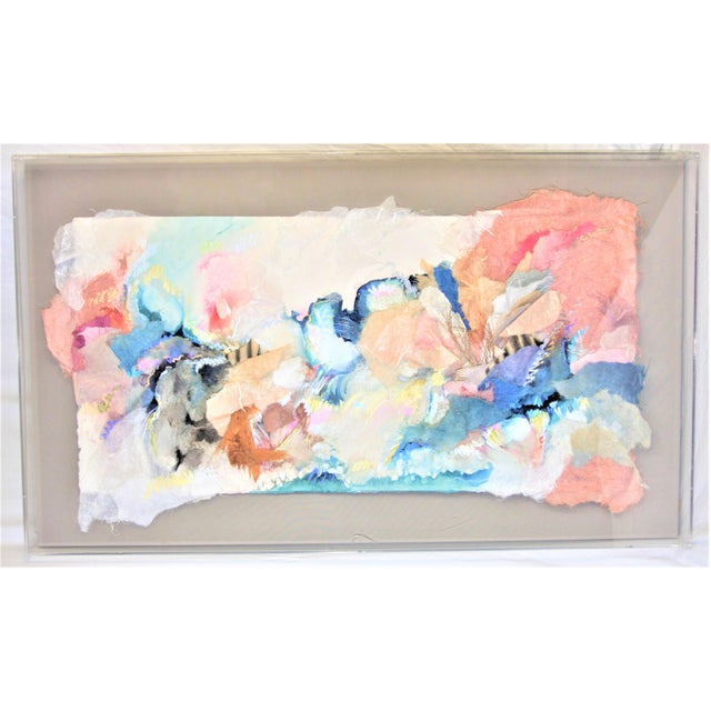 Canvas Mixed Media 3-D Fine Art in Lucite Box Frame Signed by Sherry Andrens Owen For Sale - Image 7 of 13