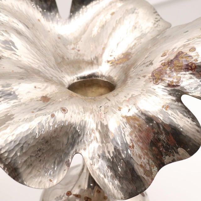 Sculptural silver plated vases. . Beautiful patina. Striking. Handcrafted by modernist Marilena Mariotto. She was...